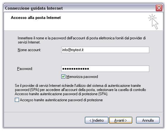 parametri accesso account di posta