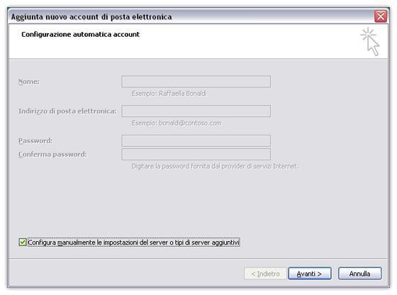 selezionare configurazione manuale