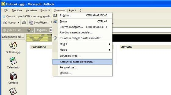 Outlook Express strumenti account