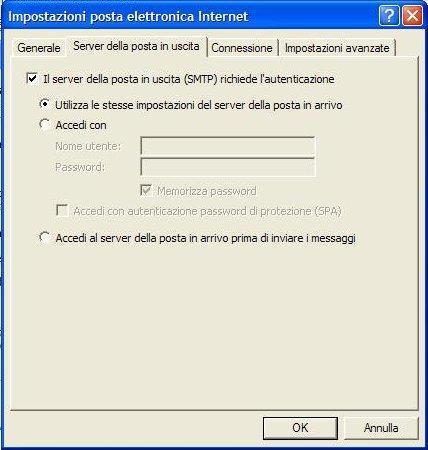 impostazioni server di posta
